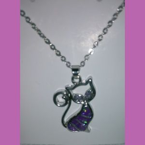 Jewelry - New Purple Cat Pendent Necklace